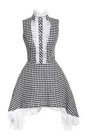 natasha zinko gingham dress with side draped skirt in black lyst