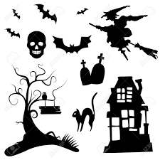 white and black halloween background set of halloween silhouettes on the white background royalty free