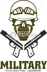 emblem with skull and guns vector illustration search