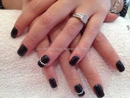 acrylic nails with black polish and gems nails pinterest