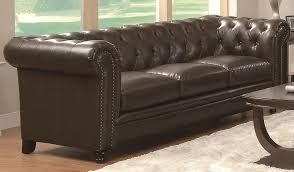 Tufted Leather Sofas Roy Button Tufted Classic Leather Sofa