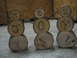 wooden snowman wooden log snowmen