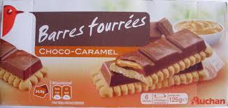 sachet pour biscuit barres fourrées choco caramel 6 biscuits auchan 125 g