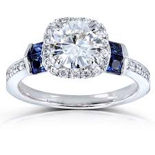jewelry rings sapphire images Round cut moissanite engagement ring with diamond and sapphire 1 3 jpg