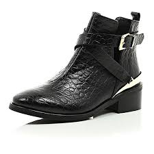 womens leather ankle boots sale black leather low heeled cut out ankle boots shoes boots