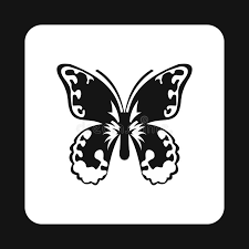 butterfly with pattern on wings icon simple style stock vector
