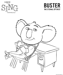 sing movie coloring pages koala buster coloring pages printable