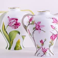 Chinese Hand Painted Porcelain Vases Vase With Tulip Naturalistic Herend Experts