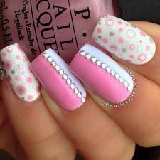 nail designs pink and white