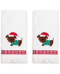 christmas towels closeout dena christmas pup cotton 2 pc 11 x 18 fingertip