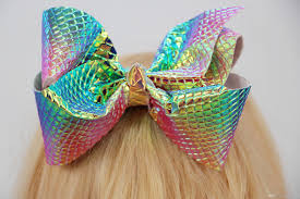 large hair bows iridescent unicorn jojo hair bow foil mermaid leather 6inch large