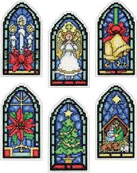 design works stained glass ornaments cross stitch kit