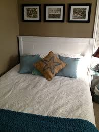 finished bed mission style headboard makeover with bead board and