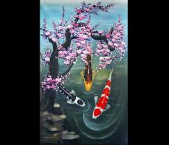abstract paintings on canvas wall art decor koi fish painting