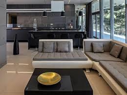 küche offen moderne schwarze küche mit insel