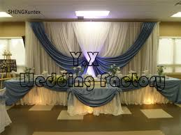 wedding backdrop prices white and sky blue color cheap price wedding backdrop curtains