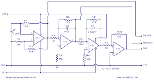 simple function generator circuit based on opamp lm1458