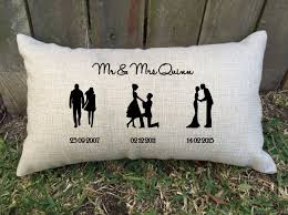 wedding gift ideas for friends silhouette timeline couples pillow for bridal shower
