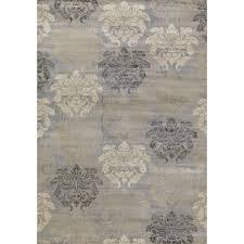 Concord Global Area Rugs Concord Global Trading Lumina Damask Grey 6 Ft 7 In X 9 Ft 3 In