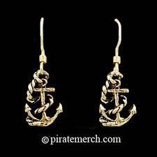 anchor earrings 14k gold pirate ship anchor earrings