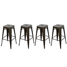 edeco 30 inch tolix style bar stools backless metal chair set of 4