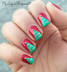 my life in turquoise striped christmas trees nail art