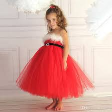 2018 Girls Christmas Dresses Baby Red Lace Dress Elegant Off