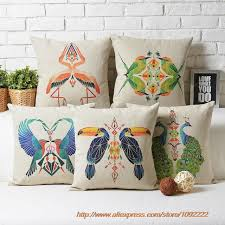 nordic bird style cushions cover peacock parrot flamingo bird