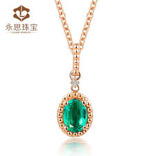 Real Gold Necklace With Name Real 18k Solid Gold Natural Diamond Emerald Pendant Necklace Au750