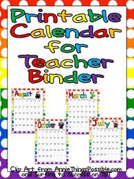 printable calendar 2016 for teachers free printable calendar for teacher binder by melissa williams tpt