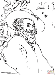 self portrait by peter paul rubens coloring page free printable