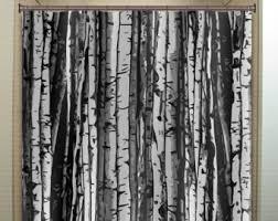 Gray Bathroom Window Curtains Birch Shower Curtain Etsy