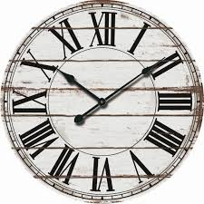 rustic white oversized wood wall clock 24 rustic white