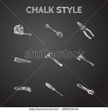 hand drawn tools sketches set collection stock vector 711395824