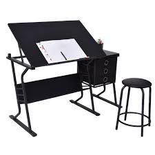 Adjustable Drafting Tables Table Pretty Black Adjustable Drafting Table W Stool Side Drawers