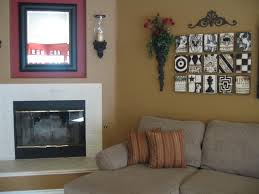 adorable living room wall decor with natural wooden floating