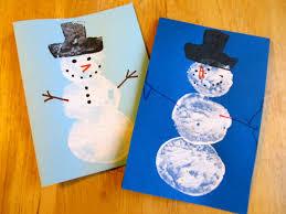 kitchen floor crafts potato print snowmen
