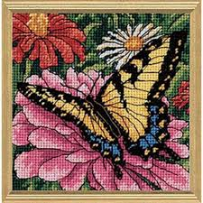 dimensions butterfly on zinnia needlepoint