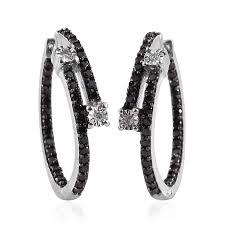 black diamond hoop earrings gp certified diamond black diamond ir platinum sterling