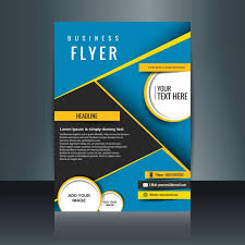 free flyer design abstract blue business brochure with yellow details free vector