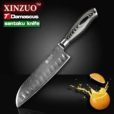 Japanese Folded Steel Kitchen Knives Damascus Santoku Knife Xinzuo 7 Santoku Knife Damascus Merchant