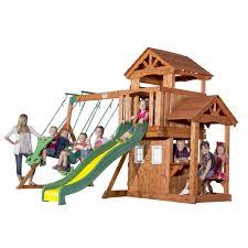 backyard discovery tanglewood cedar wooden swing set home