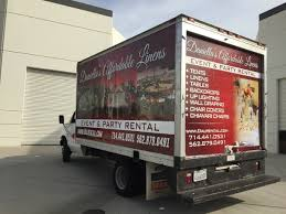 party rental companies s affordable linens advertises with box truck wraps