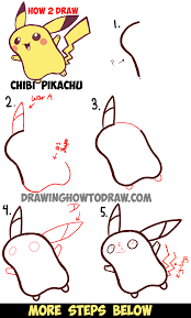 learn how to draw cute baby chibi pikachu from pokemon easy