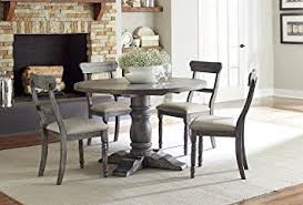 Amazoncom Muses Round Dining Complete Table Dove Grey Tables - Grey dining room furniture
