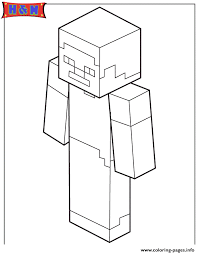 steve minecraft coloring pages printable