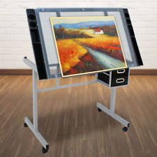 Glass Top Drafting Drawing Table Drafting Table Ebay