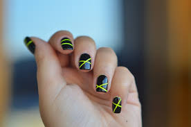 neon lines nail art with striping tape tutorial