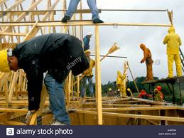 Prefabricated Roof Trusses Construction Workers Fit Prefabricated Roof Trusses Whilst