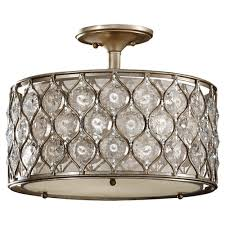 feiss lucia 3 light burnished silver semi flush mount sf289bus